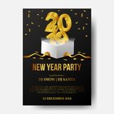 Happy new year banner background template with 3d gold number from open white box. vector illustration. Happy new year banner background template with 3d gold vector illustration