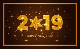 Happy new year banner background template with 3d gold number and star. vector illustration. Happy new year banner background template with 3d gold number and stock illustration