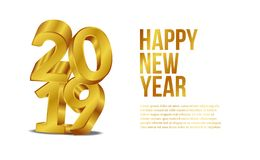 Happy new year banner background template with 3d gold number. vector illustration. Happy new year banner background template with 3d gold number for web design stock illustration
