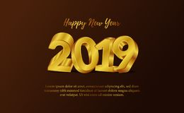 Happy new year banner background template with 3d gold silver number. vector illustration. Happy new year banner background template with 3d gold number for web stock illustration
