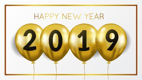 Happy new year banner background template with gold balloon flying helium. vector illustration. Happy new year banner background template with flying gold vector illustration