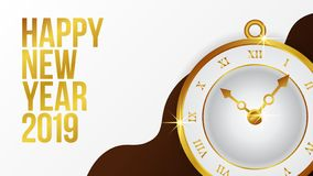 Happy new year banner background template with gold classic clock. vector illustration. Happy new year banner background template with gold classic clock for web royalty free illustration