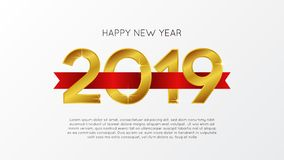 Happy new year banner background template with gold number and red ribbon. vector illustration. Happy new year banner background template with gold number and royalty free illustration