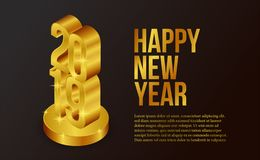 Happy new year banner background template with 3d isometric gold number. vector illustration. Happy new year banner background template with isometric 3d gold royalty free illustration