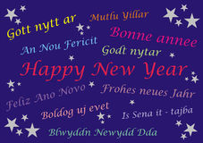 Happy New Year - Banner card - Multi Languages Stock Photos