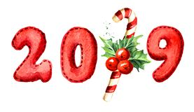 2019 Happy New Year banner. Christmas candy cane with Holly berry with numbers. Watercolor hand drawn illustration, isolated on wh. Ite background stock illustration
