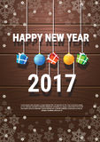 Happy New Year Banner Christmas Decorations Greeting Card With Copy Space. Flat Vector Illustration vector illustration