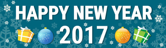 Happy New Year Banner Christmas Decorations Greeting Card With Copy Space. Flat Vector Illustration Royalty Free Stock Images