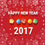 Happy New Year Banner Christmas Decorations Greeting Card With Copy Space. Flat Vector Illustration stock illustration