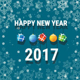 Happy New Year Banner Christmas Decorations Greeting Card With Copy Space. Flat Vector Illustration royalty free illustration