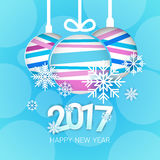 Happy New Year 2017 Banner Christmas Decorations Greeting Card. Flat Vector Illustration stock illustration