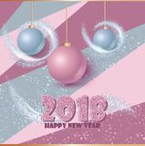 Happy new year banner with clossy balls and sparkle stardust. Magic decor for your selebration. Royalty Free Stock Photos