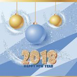 Happy new year banner with clossy balls and sparkle stardust. Magic decor for your selebration. Stock Photography