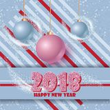 Happy new year banner with clossy balls and sparkle stardust. Magic decor for your selebration. Royalty Free Stock Photography