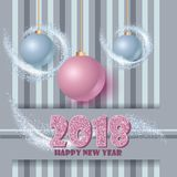 Happy new year banner with clossy balls and sparkle stardust. Magic decor for your selebration. Stock Photo