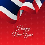Happy New Year banner. Costa Rica waving flag. Snowflakes background.. Happy New Year banner. Costa Rica waving flag. Snowflakes background. Vector Royalty Free Stock Images