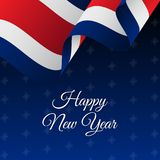 Happy New Year banner. Costa Rica waving flag. Snowflakes background.  Stock Photography