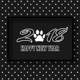 2018 Happy New Year banner with cute dog paw. 2018 Happy New Year banner with cute dog paw, pattern in black and white design. Flat cartoon invitation template Royalty Free Stock Photos