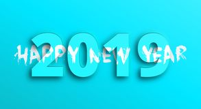 Happy New Year 2019 banner with 3d and brush lettering royalty free stock photo