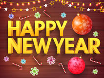 Happy New Year Banner design. 3D Golden Text Happy New Year on xmas ornaments decorated wooden background, Elegant Poster, Banner or Flyer design Royalty Free Stock Images