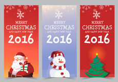 Happy New Year 2016 Banner Design. With Santa Snowman Tree Star Stock Image
