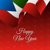 Happy New Year banner. Equatorial Guinea waving flag. Snowflakes background.. Vector Stock Image