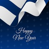 Happy New Year banner. Finland waving flag. Snowflakes background. Happy New Year banner. Finland waving flag. Snowflakes background. Vector Stock Images