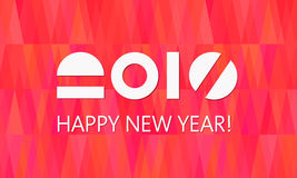 Happy New Year Banner Fire Background. Happy New Year Banner on abstract fire background from triangle elements. Stylized 2017 date. Can be poster, greeting card Royalty Free Stock Photography