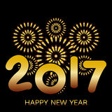 2017 Happy New Year banner. With fireworks gold celebration on black background Royalty Free Stock Image