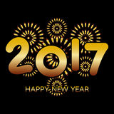 2017 Happy New Year banner. With fireworks gold celebration on black background Stock Photography