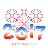 2017 Happy New Year banner with fireworks red and blue. Celebration on white background Stock Photo