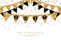 Happy New Year 2017 Banner with Flags Garlands. Vector illustration. Gold Shining Texture. Greeting Card Concept with Place for Your Text. Glitter Sequins and Royalty Free Stock Images