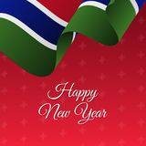 Happy New Year banner. Gambia waving flag. Snowflakes background.. Vector Royalty Free Stock Photo