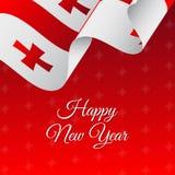 Happy New Year banner. Georgia waving flag. Snowflakes background.. Happy New Year banner. Georgia waving flag. Snowflakes background. Vector Stock Images