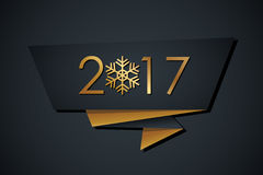2017 Happy New Year banner with golden colored elements. And black background. Vector illustration Royalty Free Stock Photo