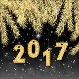 Happy New Year 2017 banner with golden fir-tree branches. Rich, VIP, luxury Gold and black colors. Vector illustration.  Royalty Free Stock Photography