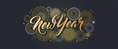 Happy New Year banner with golden fireworks. Gold and black card and banner, festive invitation, calendar poster or. Happy New Year Background with golden stock illustration