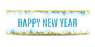 Happy New Year 2017 banner golden frame and snowflakes. Happy New Year 2017 banner. Blue background with bokeh, snow, fog and snowflakes. Golden frame. Glitter vector illustration