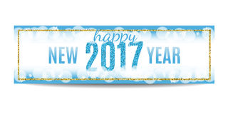 Happy New Year 2017 banner golden frame and snowflakes. Happy New Year 2017 banner. Blue background with bokeh, snow, fog and snowflakes. Golden frame. Glitter Stock Photos