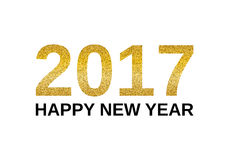 Happy New Year 2017 banner. Happy New Year 2017 with golden glitter effect,  on white background. Vector illustration. Design element for festive banner, card Stock Image