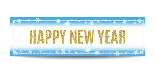 Happy New Year 2017 banner golden text and snowflakes. Happy New Year 2017 banner. Blue background with bokeh, snow, fog and snowflakes. Golden text and silver Royalty Free Stock Photography