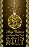 Happy new year 2017 banner with golden xmas ball Stock Photo