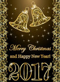 Happy new year 2017 banner with golden xmas bells, vector Royalty Free Stock Images
