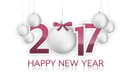 Happy New Year 2017 banner with hanging bauble and bow. Royalty Free Stock Photo