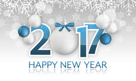 Happy New Year 2017 banner. Hanging bauble with bow, snow, snowflakes and blurred circles. Royalty Free Stock Photography