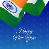 Happy New Year banner. India waving flag. Snowflakes background. Vector illustration. Happy New Year banner. India waving flag. Snowflakes background. Vector Royalty Free Stock Photo