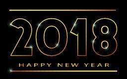2018 happy new year banner khokhloma. 2018 Happy new year. Gold Numbers Design of greeting card. Happy New Year Banner with 2018 Numbers on Bright Background Stock Photo
