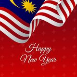 Happy New Year banner. Malaysia waving flag. Snowflakes background  Royalty Free Stock Photos