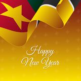 Happy New Year banner. Mozambique waving flag. Snowflakes background. Vector illustration. Happy New Year banner. Mozambique waving flag. Snowflakes background Royalty Free Stock Images