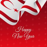 Happy New Year banner. Northern Cyprus waving flag. Snowflakes background. Vector illustration. Happy New Year banner. Northern Cyprus waving flag. Snowflakes Stock Photos
